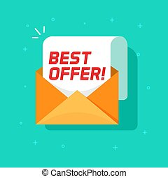 Best offer email message vector icon, flat cartoon open envelope with sale promotion text symbol isolated image
