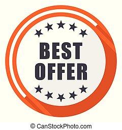 Best offer flat design orange round vector icon in eps 10