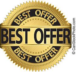 Best offer golden label, vector illustration