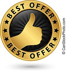 Best offer golden label, vector illustration