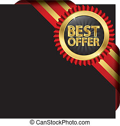 Best offer golden label with red