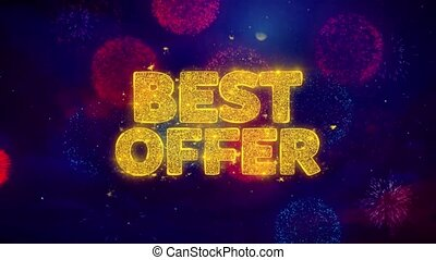 Best Offer Greeting Text Sparkle Particles on Colored Fireworks