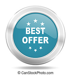 best offer icon, blue round glossy metallic button, web and mobile app design illustration