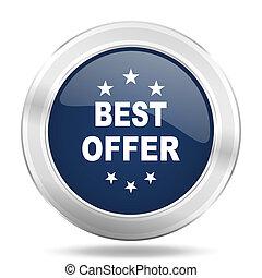 best offer icon, dark blue round metallic internet button, web and mobile app illustration