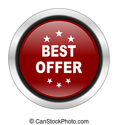 best offer icon, red round button isolated on white background, web design illustration