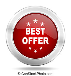 best offer icon, red round glossy metallic button, web and mobile app design illustration