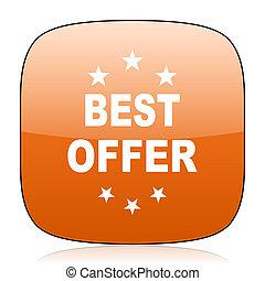 best offer orange square web design glossy icon