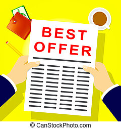 Best Offer Shows Top Deal 3d Illustration