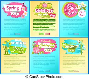 Best Offer Spring Big Sale Advertisement Pages Set