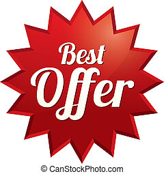 Best offer tag (vector). Red sticker (icon) - Best offer tag...