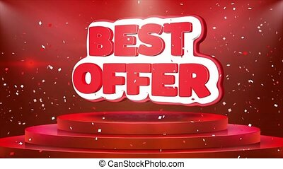 Best Offer Text Animation Stage Podium Confetti Loop...