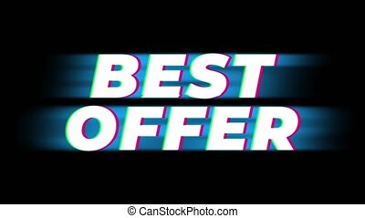 Best Offer Text Glitch Effect Promotion Advertisement Loop Background. Price Tag, Sale, Discounts, Deals, Special Offers, Green Screen and Alpha Matte