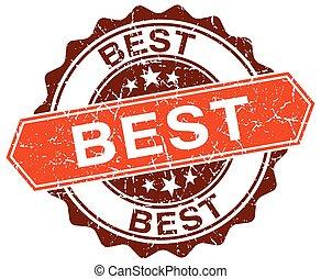 best orange round grunge stamp on white