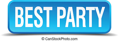 best party blue 3d realistic square isolated button