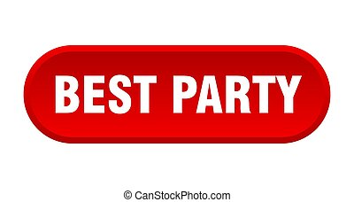 best party button. rounded sign on white background