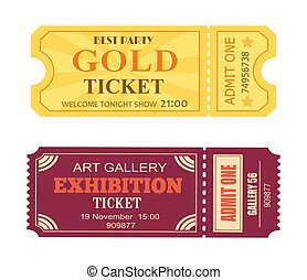 Best Party Gold Ticket Art Gallery Exhibition Icon