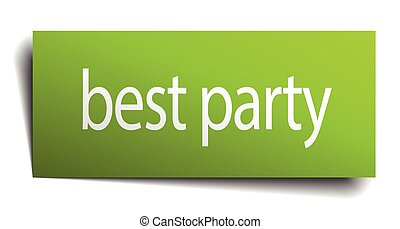 best party green paper sign on white background