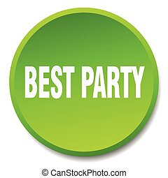 best party green round flat isolated push button