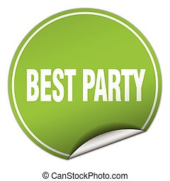 best party round green sticker isolated on white