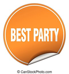 best party round orange sticker isolated on white