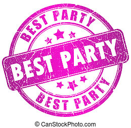Best party stamp on white background