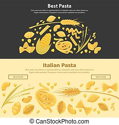 Best pasta made of organic ingredients promotional posters.