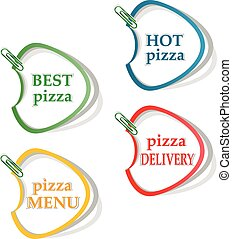 Best pizza, hot pizza delivery stickers. vector illustration