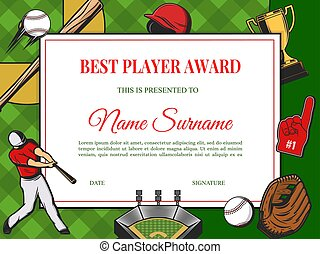 Best player award diploma vector cartoon template