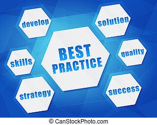 best practice and business concept words in hexagons