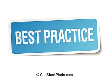best practice blue square sticker isolated on white