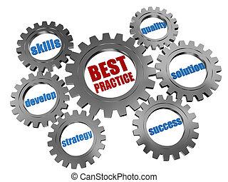 best practice - business concept in silver grey gearwheels...