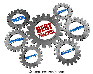 best practice - business concept in silver grey gearwheels -...