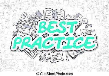 Best Practice - Doodle Green Word. Business Concept.