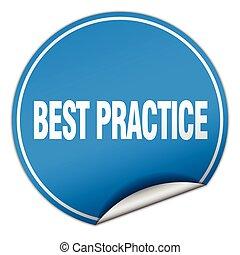 best practice round blue sticker isolated on white