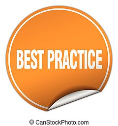 best practice round orange sticker isolated on white