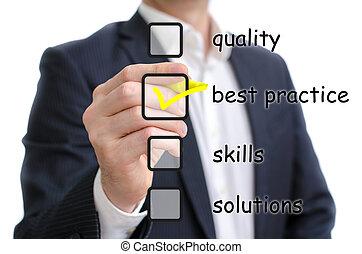 Best practice - Man ticking the best practice checkbox