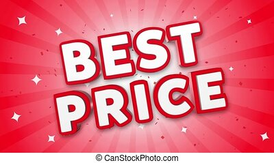Best Price 3D Text on Red Sparkling Falling Confetti Background. ad, Promotion, Discount Offer Sale Loop Animation.