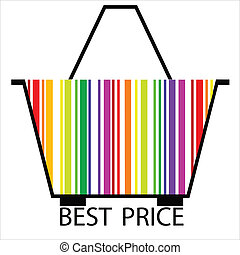 best price barcode Shopping basket, vector