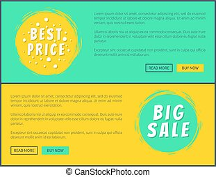 Best Price Big Sale Web Posters with Buttons Set
