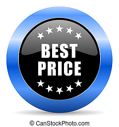 Best price black and blue web design round internet icon with shadow on white background.
