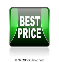 best price black and green square web glossy icon