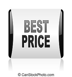 best price black and white square web glossy icon
