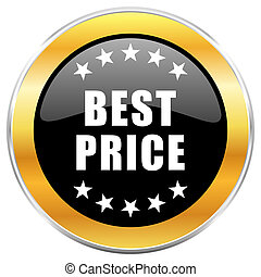Best price black web icon with golden border isolated on white background. Round glossy button.