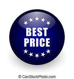 Best price blue glossy ball web icon on white background. Round 3d render button.