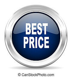 best price cirle glossy dark blue web icon on white background