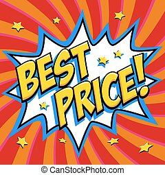 Best price - Comic book style word on a red background. Best price comic text speech bubble. Banner in pop art comic style. Color summer banner in pop art style Ideal for web. Decorative background with bomb explosive.