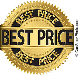 Best price golden label, vector ill
