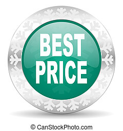 best price green icon, christmas button