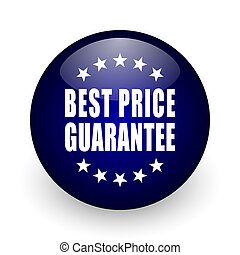 Best price guarantee blue glossy ball web icon on white background. Round 3d render button.
