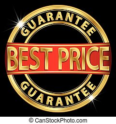 Best price guarantee golden label with red ribbon, vector illustration